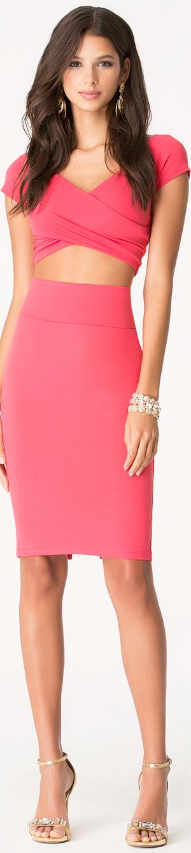 BEBE  Pink Knit Midi Skirt