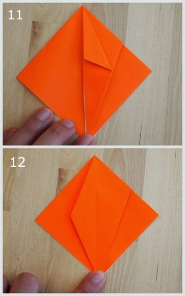steps 11 and 12 showing how to fold an origami jack-o-lantern