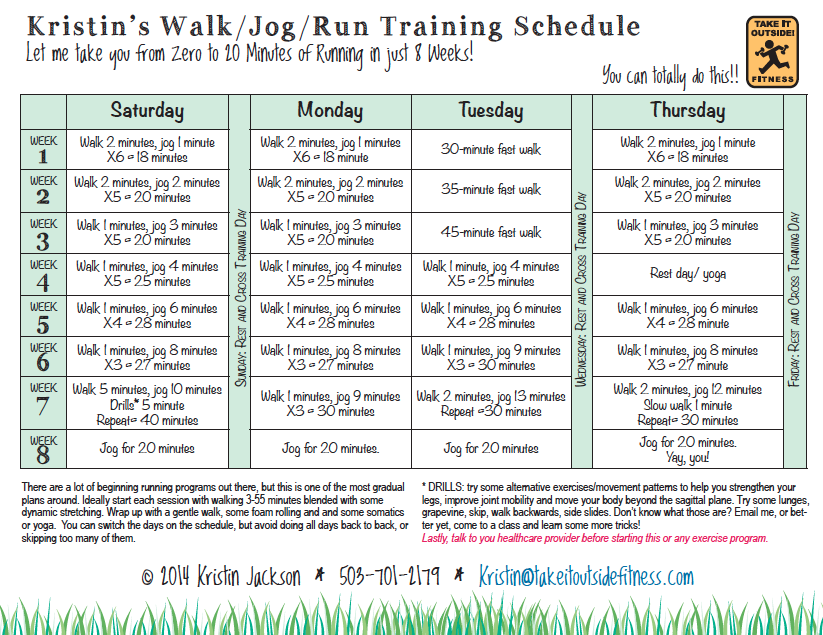 I'll take you from zero to 20 minutes of running in 8 weeks! Get my FREE Walk/Jog/Run Plan Here!