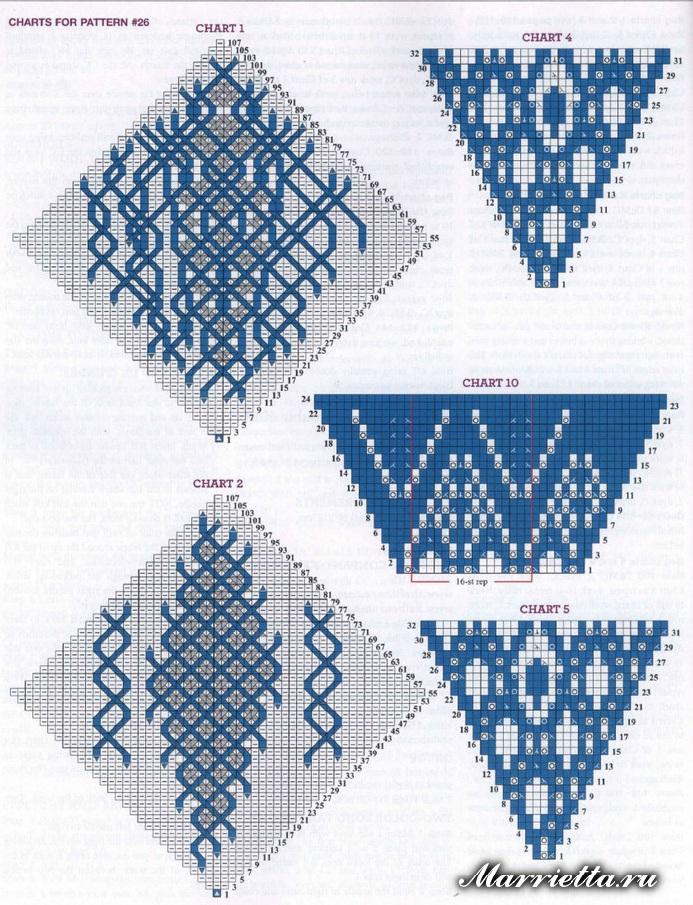 Двустороннее вязание спицами. Красивые шали с орнаментом
