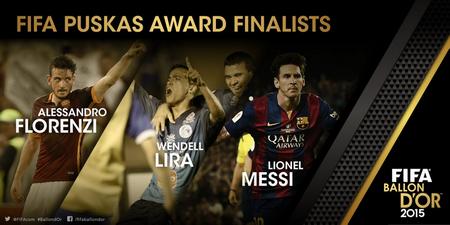المرشحون الثلاثة النهائيون للفوز بجائزة بوشكاش 2015 FIFA PUSKAS AWARD