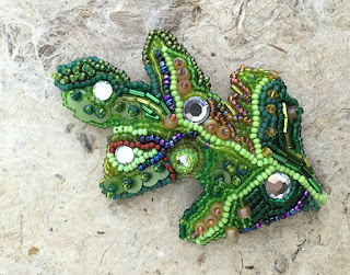Bead embroidered Oak Leaf by Karen Williams