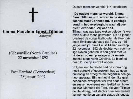 Emma Fanchon Faust Tillman 1892-2007. Bidprentje, verzameling Leondyme.