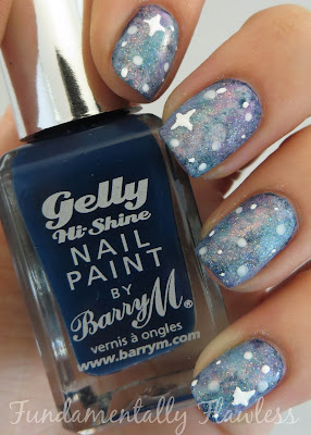 Galaxy nails tutorial with Barry M Blackberry