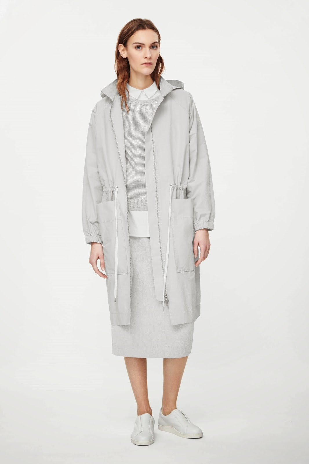 cos grey coat, cos grey parka, light grey parka,