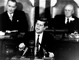 President John F. Kennedy speaking before Congress in May 25, 1961