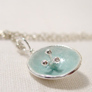 Silver Poppy Necklace, Duck Egg Blue Enamel Poppy Flower Pendant Necklace