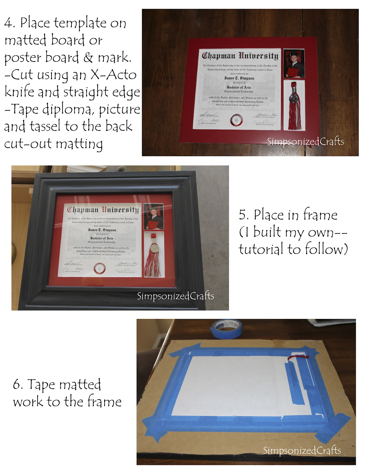 Simpsonized crafts framing a diploma with picture and tassel as you noticed i did make my own frame as well and will post a tutorial on that soon solutioingenieria Image collections