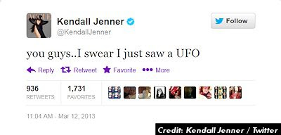 First Russell Crowe, Now Kendall Jenner & Khloe Kardashian Insist On UFO Sighting Via Twitter 3-12-13