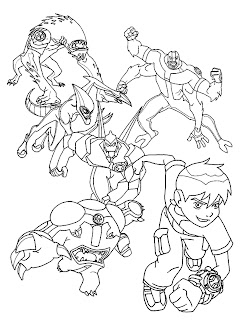 Ben 10 Characters Kids Coloring Sheet
