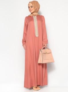 Dress muslim warna polos ceram