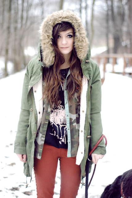 brunetka, zielona, parka, zara, sheinside, moro, army, brunette