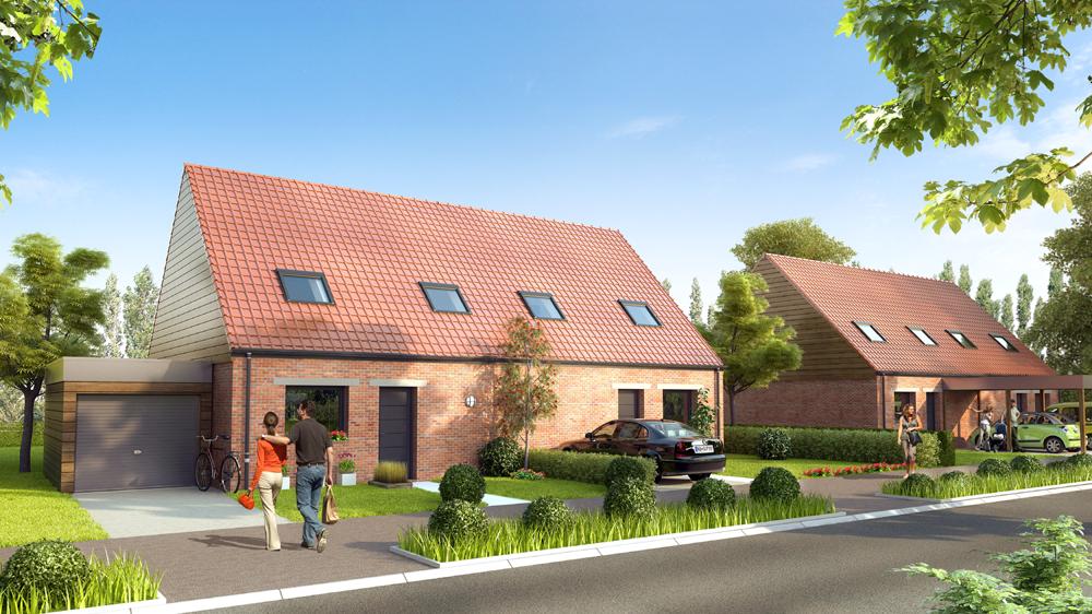 26 logements individuels bbc annoeullin agence delannoy for Delannoy architecte