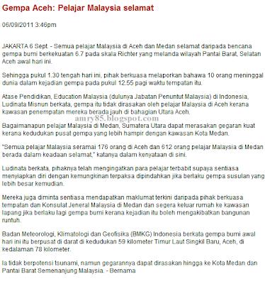 gempa bumi di Aceh | Utusan Online