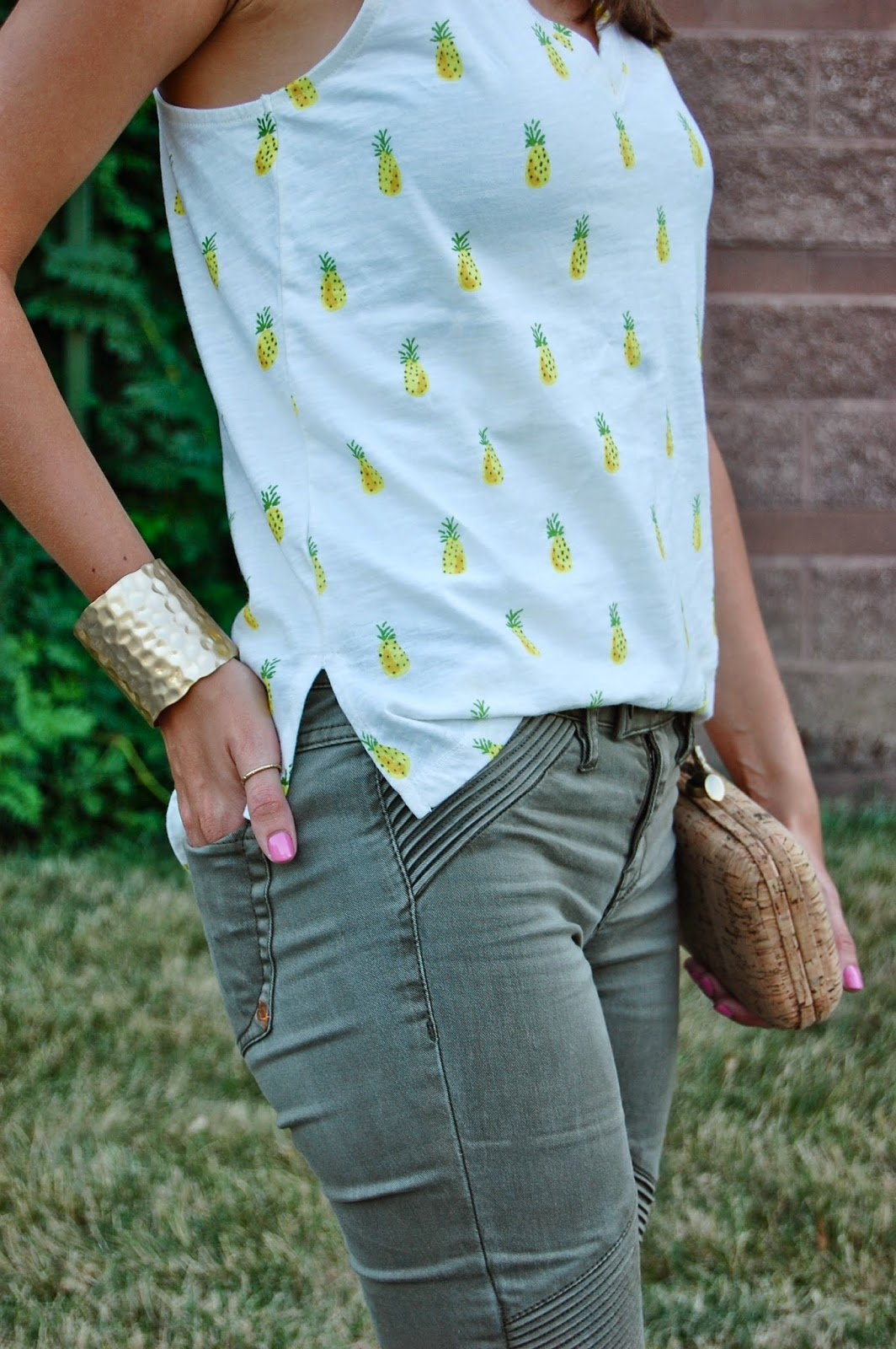 Wearing Merona Pineapple Tank Top, Dittos Brand Moto Skinny Jeans, Prima Donna Two Tone Ankle Strap Heels, Jeans and Heels look