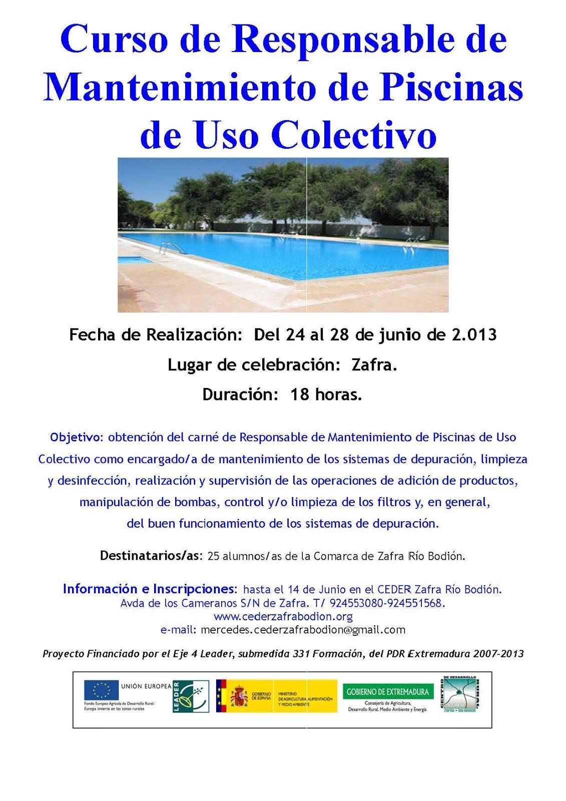 Zafra ciudad deportiva cursos del mbito deportivo for Curso mantenimiento piscinas