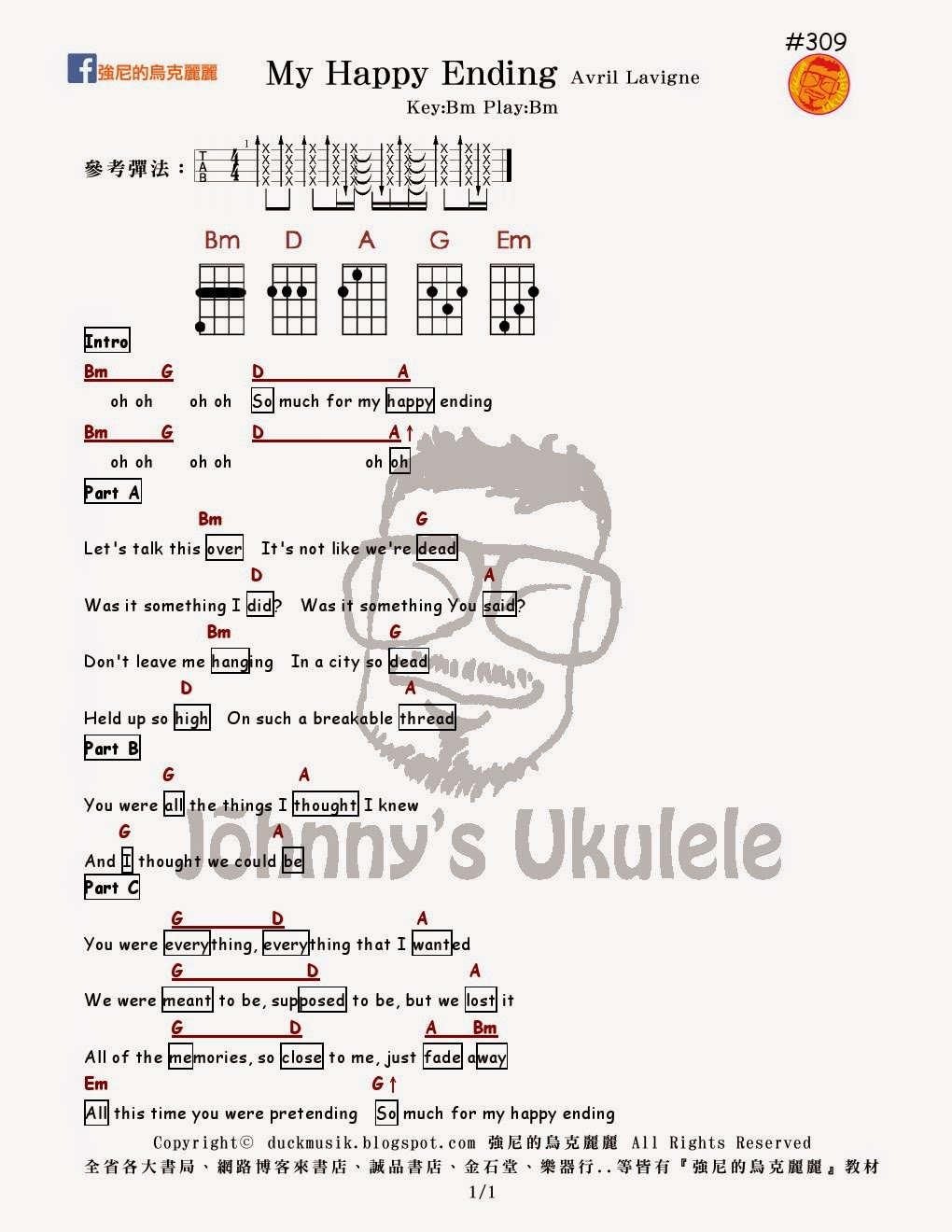 Johnny ukulele 309 my happy ending avril 309 my happy ending avril lavigne johnnys ukulele tabs hexwebz Images