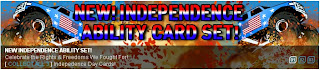 Independence ability card set banner at Superhero City