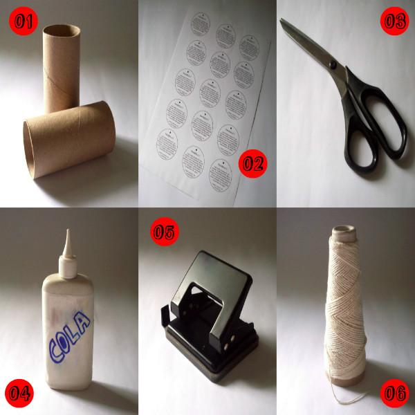 rolinho de papel higiênico, cola, tesoura, furador, barbante, tags, papel, reciclagem, passo a passo, crafts, handmade,