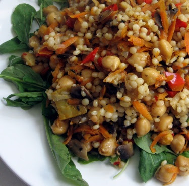 Israeli couscous with chickpeas and Mediterranean vegetables