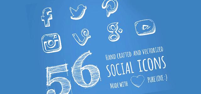 手描きのラフスケッチ風の無料ソーシャルメディアアイコン素材セット