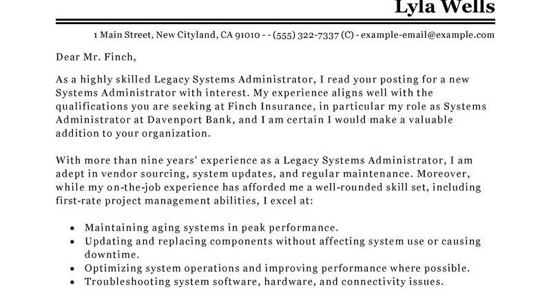 sample system administrator cover letter