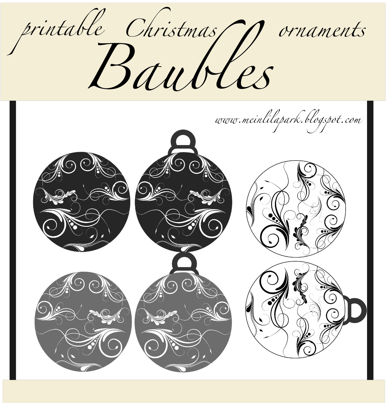 Free Printable Paper Baubles – Christmas Ornament Tags – Christbaumkugeln