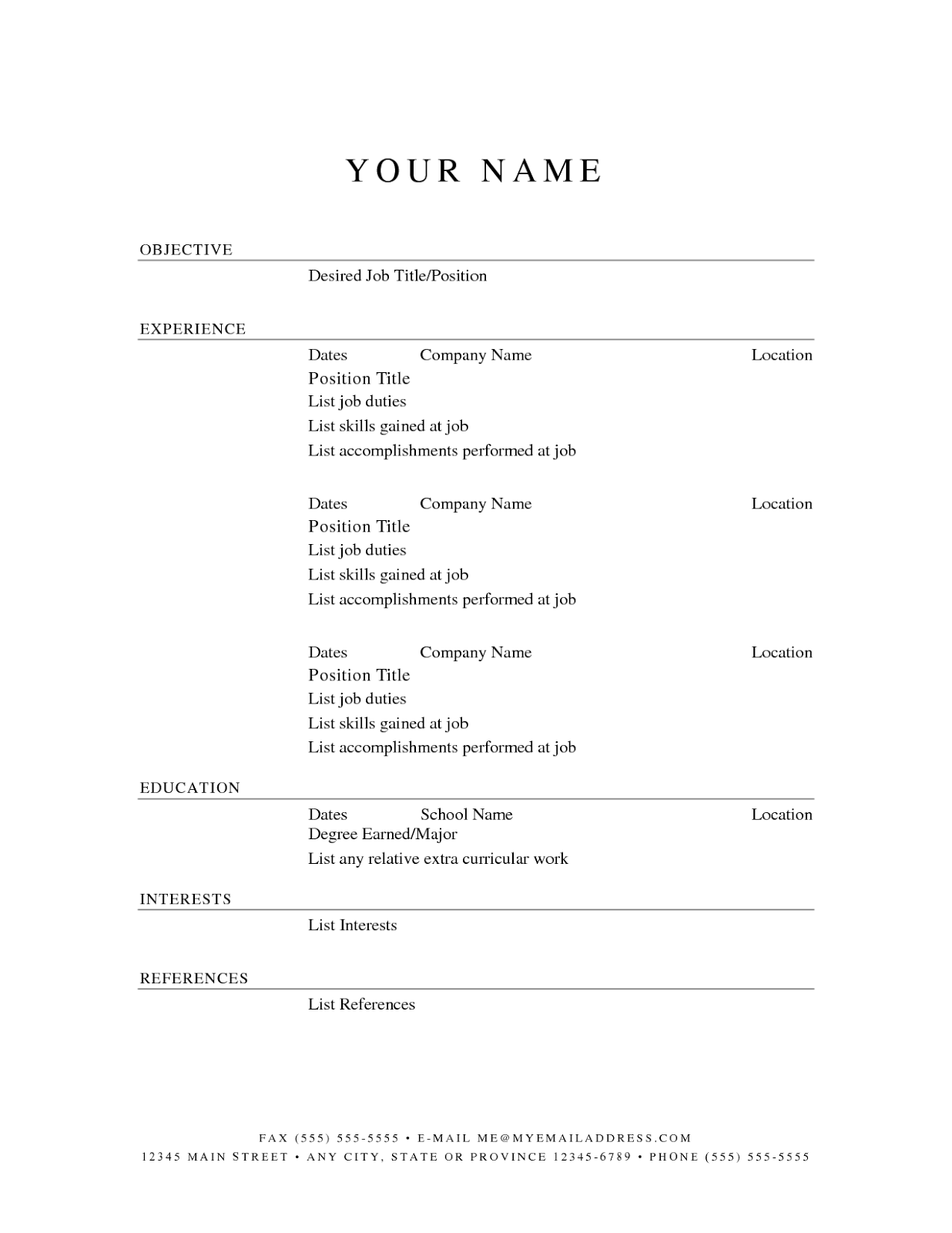 10 blank basic resume templates best template job resume template job resume examples job resume template word job resume template