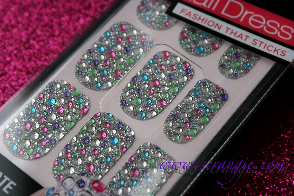 Scrangie Testing Out The Kiss Nail Dress Jeweled Nail Art Strips