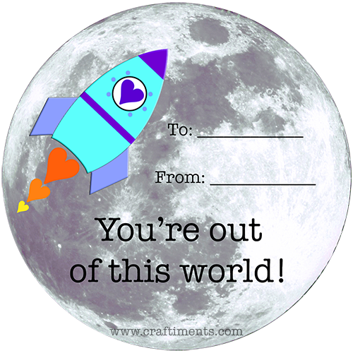 "Free printable ""You're out of this World!"" rocket and moon valentine."