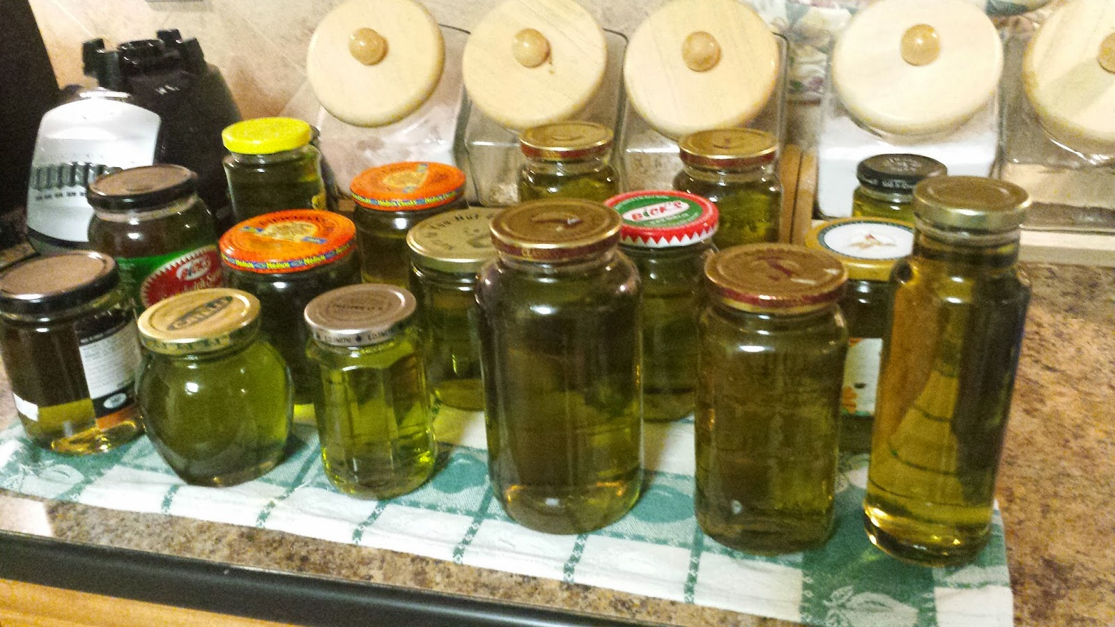 Jars of homemade mint syrup.