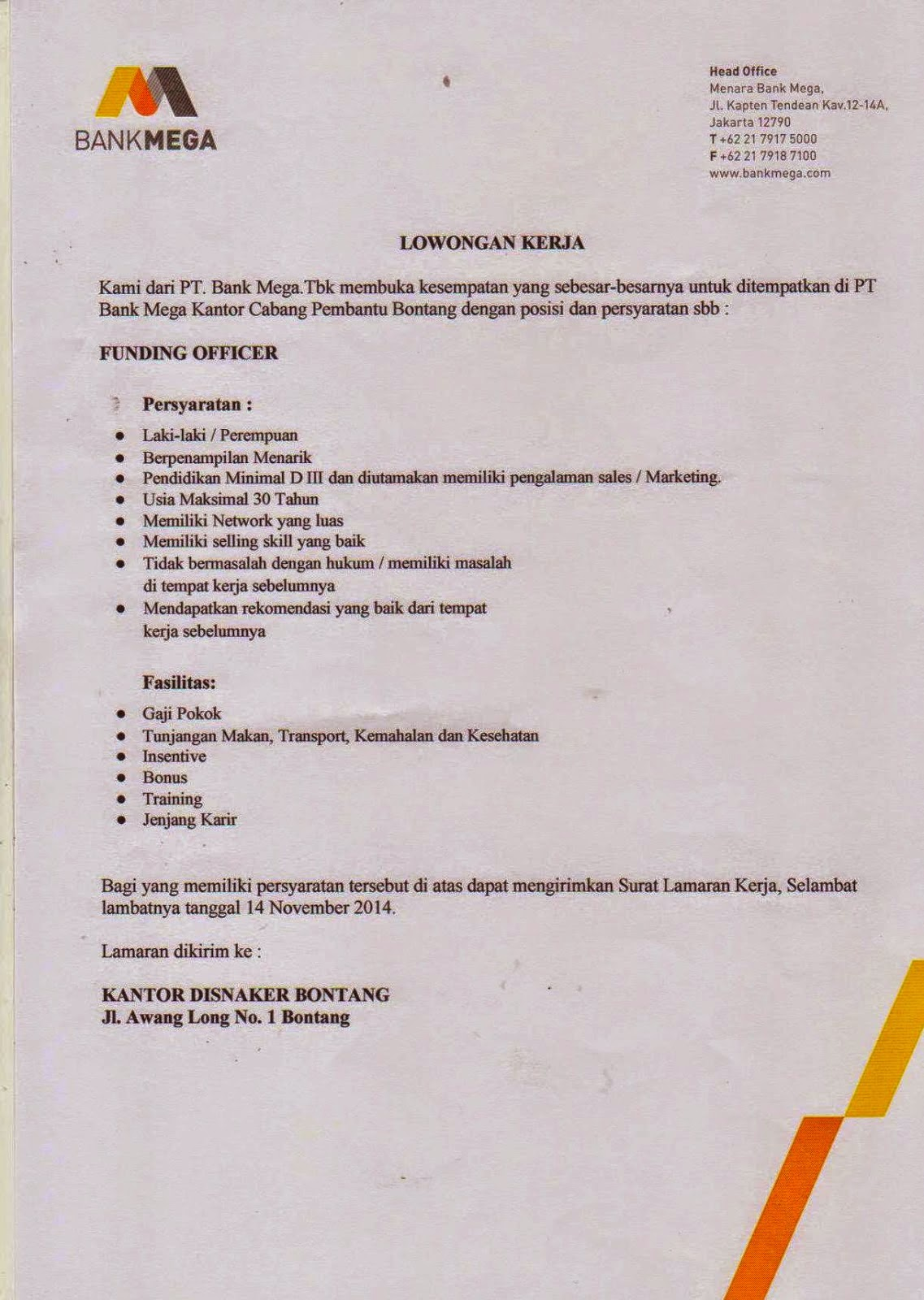 Lowongan Kerja Bank Mega November : D3 Funding Officer