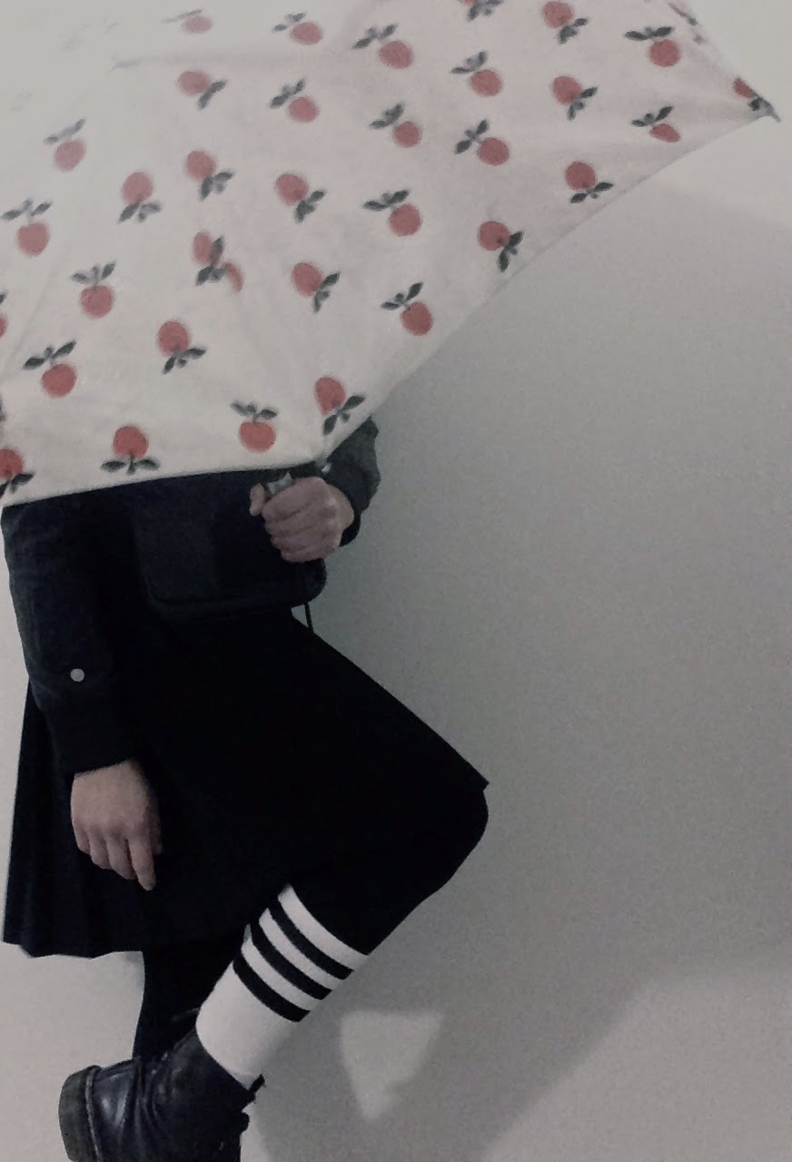 Dr Martens, American socks, Monki skirt, Adidas jacket, Marimekko umbrella