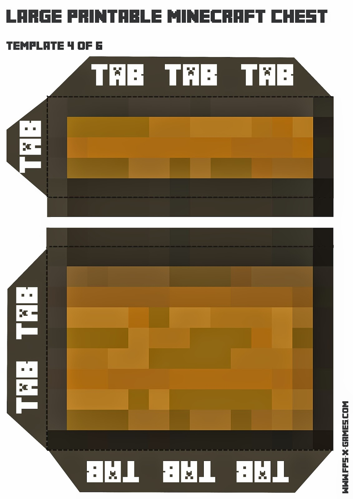 Free printable Minecraft chest, template 4 of 6