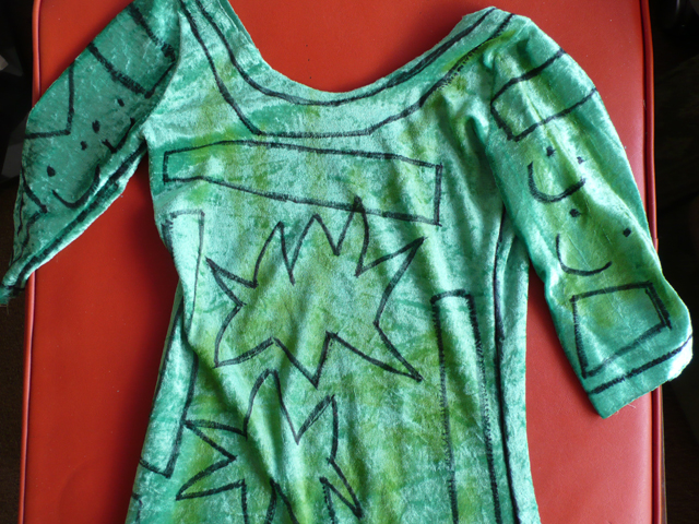 Fairy Princess green outfit with hand-drawn motif.