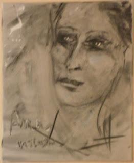 Portrait au fusain par Batistin artiste peintre sculpteur -alpes de haute provence
