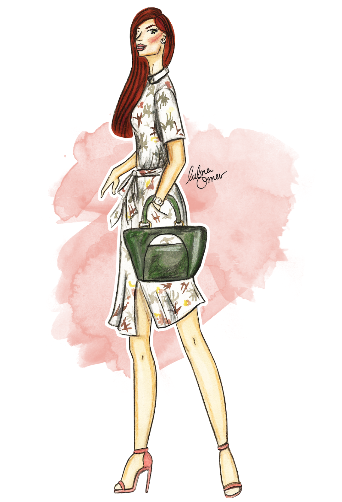 shirt dress fashion illustration by lubna omar