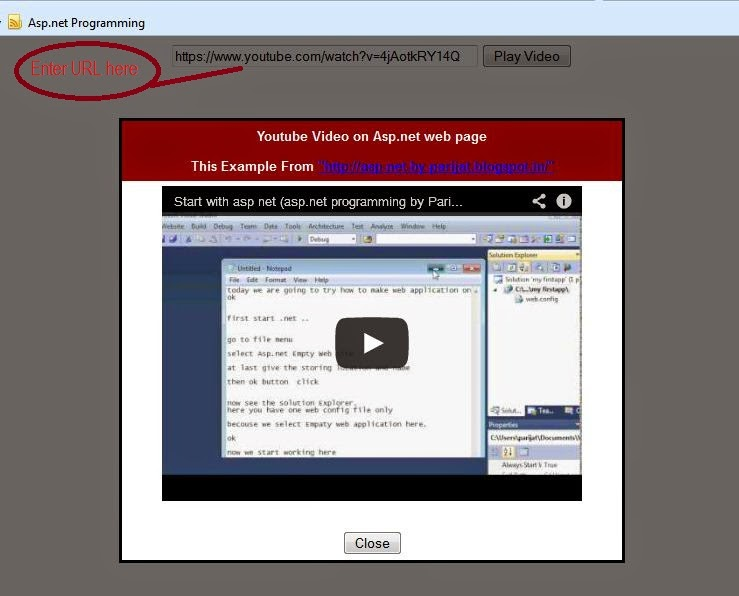 How Play YouTube Video in Your Asp.net Website by URL