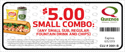 quiznos $5 small combo printable coupon