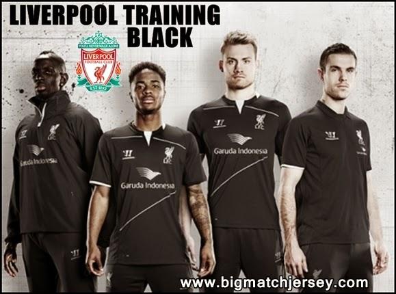 Jersey Olahraga Baru Liverpool Training Garuda Indonesia Hitam Musim 2015