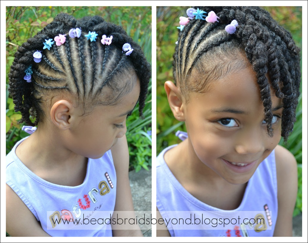 Natural Hair Braiding Styles For Kids: Beads, Braids And Beyond: Side Cornrows With Two Strand Twists