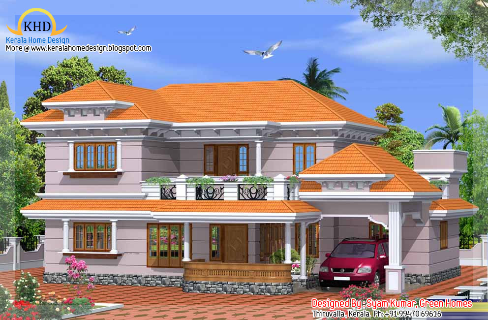 Duplex house elevation 2425 sq ft kerala home design for Duplex house models