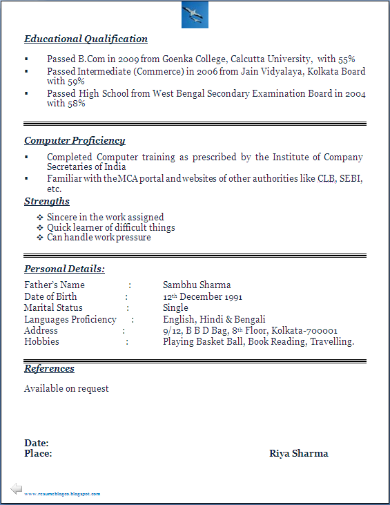 RESUME BLOG CO: Company Secretary (CS) Trainee's Beautiful Resume ...