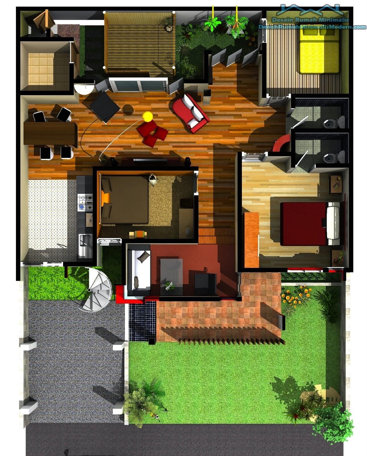 Desain Rumah Minimalis 1 Lantai 5 Kamar Gambar Foto Desain Rumah