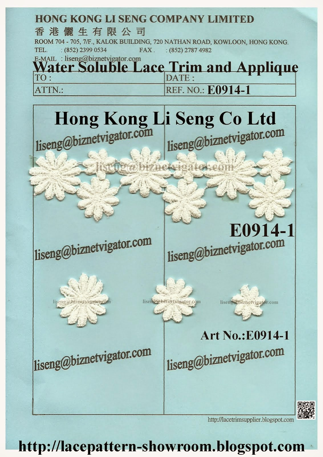 Lace Trim and Lace Applique Manufacturer Wholesaler Supplier - Hong Kong Li Seng Co Ltd