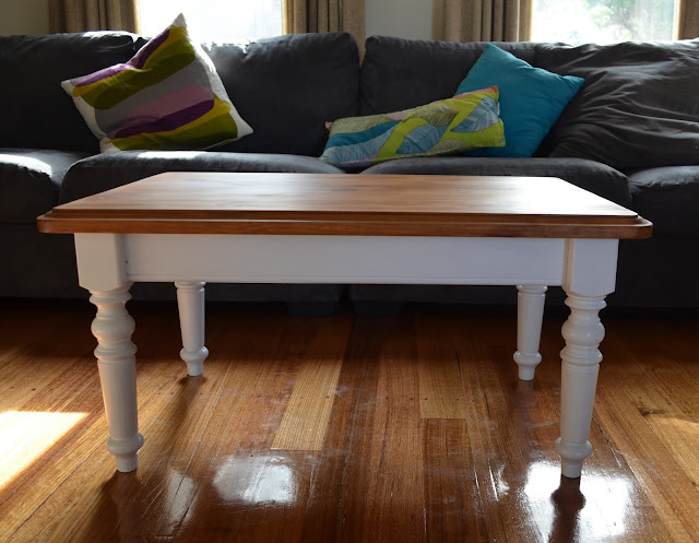 Retro Vintage Love French Country Provincial Style White And Timber Coffee Table Cute As A Button