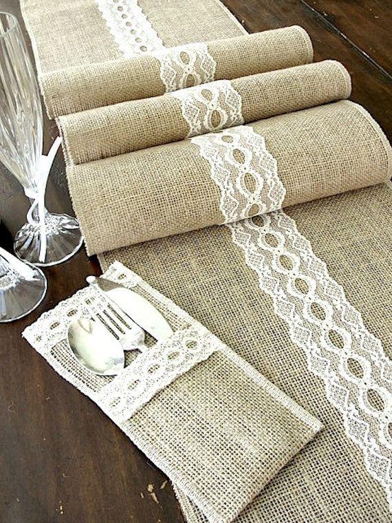 Bodas a mares decorar con arpillera - Caminos de mesa de papel ...