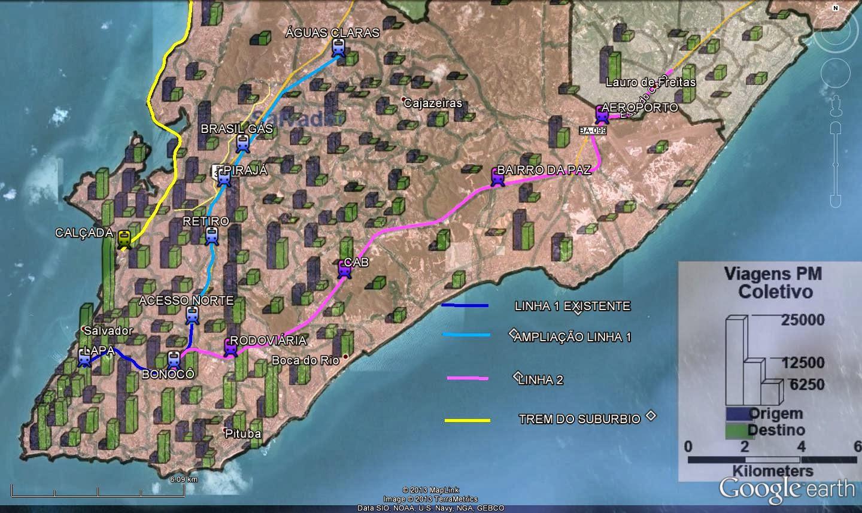 Sobreposição das linhas previstas para o metrô e dados da pesquisa de mobilidade urbana da RMS