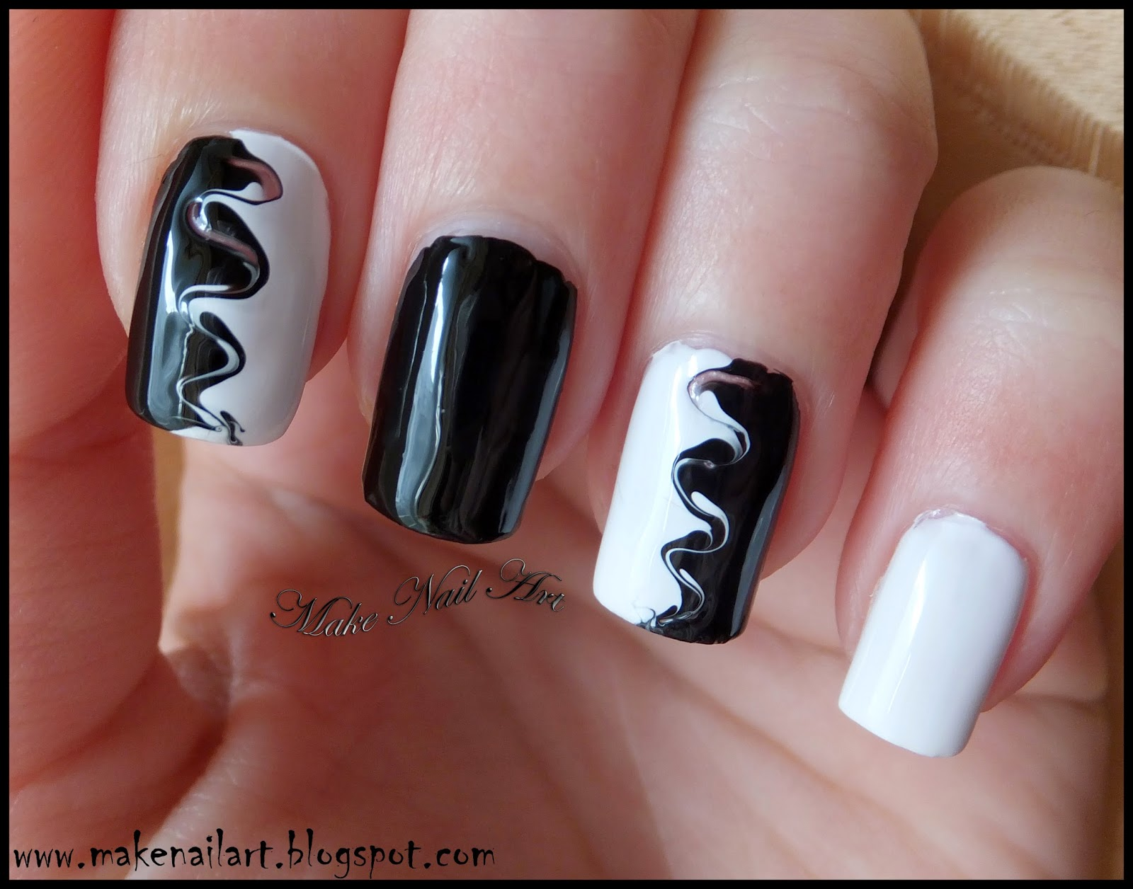 make nail art: black and white swirl nail art tutorial