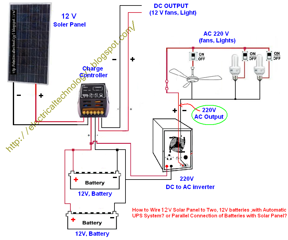 electrical technology parallel connection of batteries with solar rh electricalstechnology1 blogspot com Batteries in Parallel Diagram Series vs Parallel Battery Wiring Diagrams